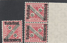 Württemberg MER. n. 268 I + II post freschi MER. valore € 90 (985)