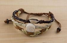 Bracelet cuir Oeil de Sainte Lucie  Cauris Shiva wrap noir beige marron 1017 D1