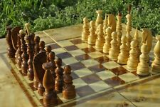 Big 60x60 Vintage Chic UNUSUAL Russian handmade wooden varnished CHESS SET