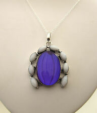 925 Sterling Silver Pendant With Natural Aqua Mystic And White Agate   (nk1409)