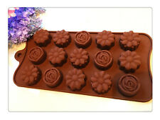 Silicona Flor Rosa Chocolate Pastel Galleta Molde Bandeja de Hornear