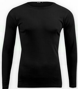 Mens Long Sleeve Plain Cotton T-Shirt Crew Neck Fitted  Top Tee Stretchable Top