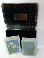 Game Cards Two Decks Tin Box HOYLE Cards Iris Flower Playing Vintage NIB