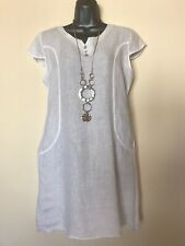 New ITALIAN LAGENLOOK White Linen Shift Dress - OSFA ( UK 12 14 )