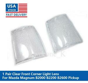 1 PAIR FRONT CORNER SIDE LIGHT CLEAR LENS FOR MAZDA MAGNUM B2000 B2200 B2600