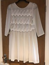 Topshop Cream And White Lace Vintage Style Dress Size 12