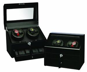 Watch Winder Black Four Watches,Wood Finish With Additional Watch Storage Spaces