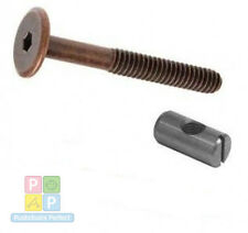 4 of m6 x 60mm bronze bed bolts with 20mm barrel nuts, cot, cot bed, furniture