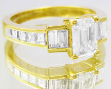 14K YELLOW GOLD EMERALD CUT DIAMOND ENGAGEMENT RING PRONG AND BAND 1.85CTW