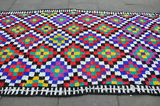Old Traditional Handmade Persian Oriental Blue Red Cotton Kilim 325x180cm