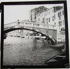 Glass Magic lantern slide VENICE BRIDGE & GONDELLERS C1890 ITALY