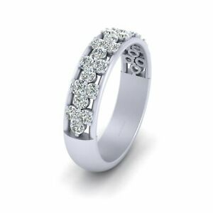 Solid 925 Sterling Silver Diamond Eternity Band For Women Diamond Wedding Band