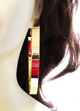 LARGE 3.5 inch HOOP EARRINGS THICK SHINY SILVER OR GOLD TONE HOOP EARRINGS