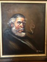 Original Oil Painting on Canvas - Old Man with Pipe & Beard Signed by T Vincent