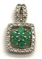 Sterling Silver 925 Two Tone Green Emerald Flower Diamond Accent Petite Pendant
