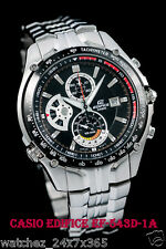 CASIO EDIFICE CHRONOGRAPH EF-543D-1A BLACK RETROGRADE DIAL STEEL CASE & BRACELET