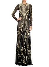 $6,998 Temperley London Long Aya Show Dress Black Embroidered Gold UK 8 US 4