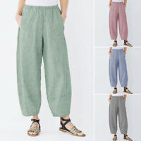 ZANZEA Femme Pantalon Casual en vrac Loisir Poche Bande Taille Jambe Large Plus