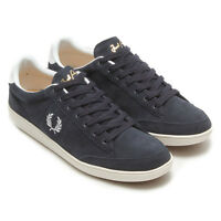Fred Perry Men's Hopman Suede Leather Trainers Shoes B6283-608 - Navy
