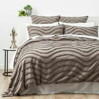 Cloud Linen Wave Cotton Grey Vintage Quilt Cover Duvet Doona Set/Super King