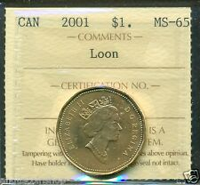 2001 Canada Loon Dollar ICCS MS-65 ``Rare Rare To Find``