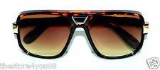 Men's Classic Vintage Designer Aviator Retro Sunglasses Brown Gold Frame Classic
