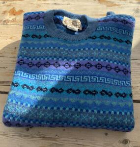 "Vintage Blue Fair Isle Knit Pure New Wool Jumper ""Ballater Scotland"" 42"""