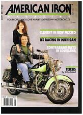 AMERICAN IRON MAY 1990 HARLEY SHOVEL BOBBER SIDEHACK ICE RACERS H-Ds IN THE DIRT