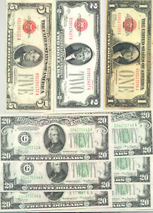 6x CU 1934 Federal Reserve Notes and VF-CU $1, $2 & $5 1928 United States Notes
