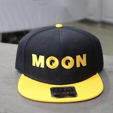Men's Mooneyes MOON Logo Flat Bill Snapback Wool Blend Baseball Hat Black Yellow