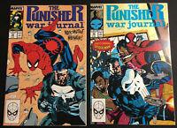 PUNISHER WAR JOURNAL 14 15 JIM LEE COVER VF/NM+ SPIDER MAN 1989 VOLUME 1 LOT SET