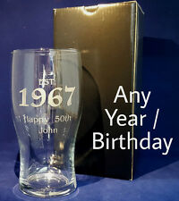 PERSONALISED ENGRAVED PINT GLASS ESTABLISHED 1989 30th BIRTHDAY GIFT PRESENT