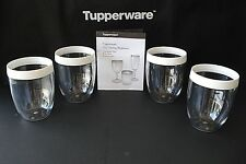 FREE SHIP Tupperware Stemless Wine Glasses Set of 4 Clear Acrylic with white NEW