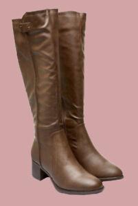 The Next Best Forever Comfort Brown Knee High Block Heel Boots UK 3 - 9 (BQ5.2)