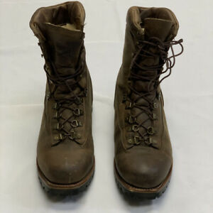 Vintage Chippewa Brown Leather Distressed Shearling Lined Work Moto Boots 10.5E