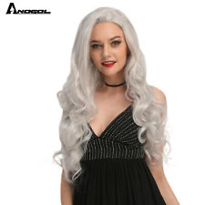 Grey WhiteHair Wigs Long Natural Body Wave Synthetic Lace Front Wig for Women