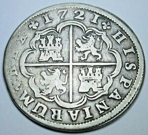 1721 Spanish Silver 2 Reales Antique 1700's Colonial Cross Pirate Treasure Coin