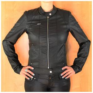 Neu Vero Moda Damen Jacke PU Leder Women Biker Leather Jacket Black Schwarz