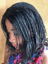 Wavy Tips Midway Black Braided Wig!   Made with Premium Synthetic Hair.