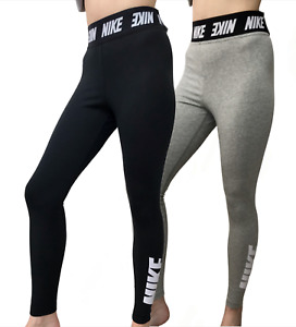 Nike Sportswear Women's High-Rise Tight Fit Leggings Black and Grey RRP £49.99