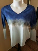 Women's NWT SONOMA Everyday Tee Tie-Dyed Long Sleeve V-Neck Top Size XL
