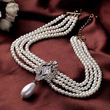 Collier Multirang Chaine Perle Blanc Pendantif Goutte Retro Class Original JD 5