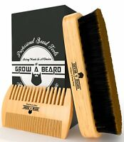 Beard Brush and Comb Set for Men - Friendly Gift Box And Cotton Bag - Best