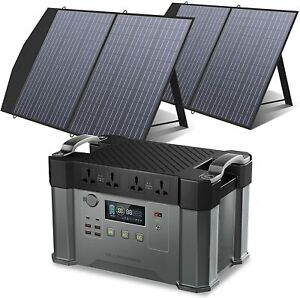ALLPOWERS Monster X 2000W Portable Power Station with 2x100W Solar Panels Camp