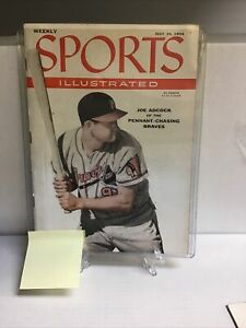Vintage Sports Illustrated Joe Adcock Milwaukee Braves 1956 Ad Label On