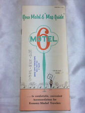 """VINTAGE 1971 YOUR MOTEL 6 """" MAP GUIDE """" BOOKLET W PASO ROBLES,CA MOTEL INK STAMP"""