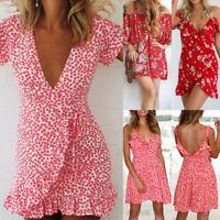 Women's Boho Holiday Floral Wrap Summer Casual Beach Plunge V-neck Mini Dress