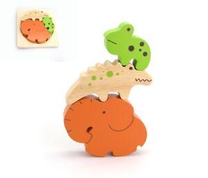 KK Stacking Jigsaw Puzzle Forest Friends Elephant Crocodile Frog Educational Toy