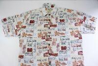 Kahala John Severson Spellout Hawaiian Aloha Camp Shirt Sz L Lava Wahine Tiki