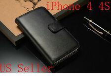 Black Luxury PU Leather Flip Card Wallet Case Cover Pouch For Apple iPhone 4 4S